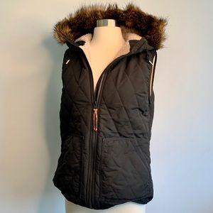 Eddie Bauer Black Quilted Vest with Faux Fur Hood